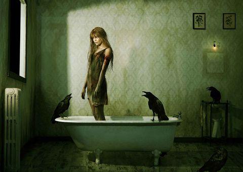 Bird, Interior design, Beak, Digital compositing, Cg artwork, Perching bird, Raven, Figurine, Fictional character, Fiction,