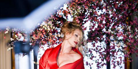 Petal, Red, Dress, Beauty, Day dress, Fashion model, Model, Lipstick, Makeover, Satin,