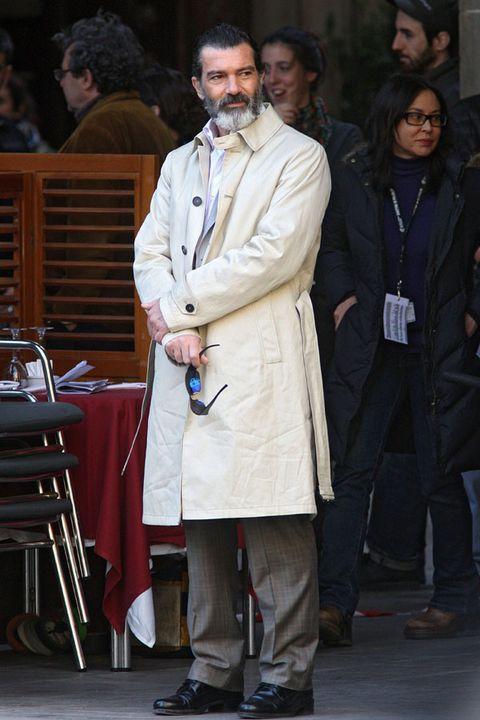 Footwear, Shoe, Coat, Overcoat, Jacket, Hat, Chair, Fashion, Street fashion, Trench coat,