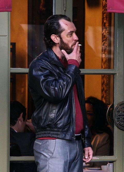 Jacket, Facial hair, Textile, Outerwear, Beard, Denim, Moustache, Leather jacket, Leather, Street fashion,