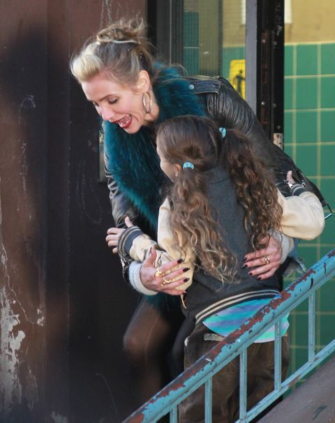 Stairs, Street fashion, Brown hair, Long hair, Handrail, Blond, Boot, Fur, Glove, Baluster,