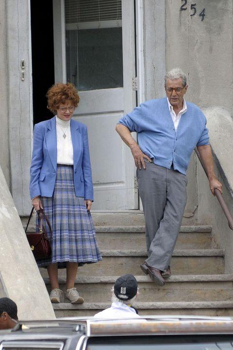 Blue, Dress shirt, Collar, Standing, Outerwear, Stairs, Style, Plaid, Tartan, Street fashion,