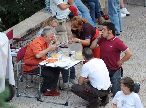 Footwear, Arm, Leg, Jeans, Table, Denim, Sitting, Chair, Sharing, Outdoor table,