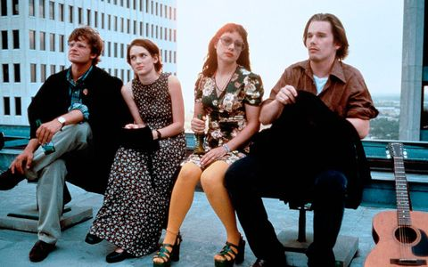 Hair, Footwear, Leg, People, Trousers, Sitting, Social group, Dress, Photograph, Musical instrument,