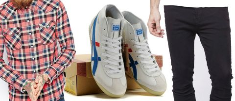 Footwear, Plaid, Blue, Product, Tartan, Shoe, Dress shirt, Pattern, White, Sportswear,