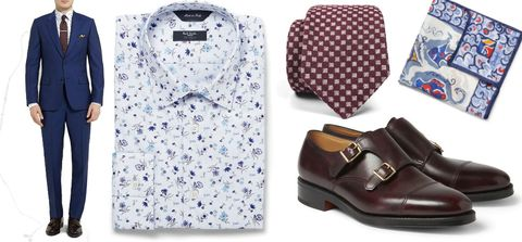Blue, Product, Brown, Sleeve, Collar, Pattern, Textile, White, Dress shirt, Style,