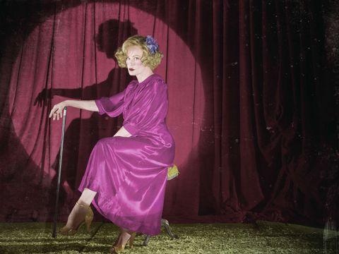 Purple, Magenta, Pink, Violet, Costume, Curtain, One-piece garment, Dance, Costume design, Vintage clothing,