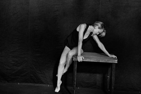 Human leg, Elbow, Sitting, Knee, Comfort, Monochrome, Flash photography, Art model, Painting, Portrait,