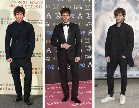 Footwear, Coat, Dress shirt, Sleeve, Collar, Trousers, Shirt, Outerwear, Formal wear, Style,