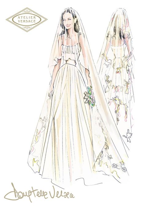 Sleeve, Dress, White, Standing, Formal wear, Costume design, Line, Style, Fashion illustration, Gown,