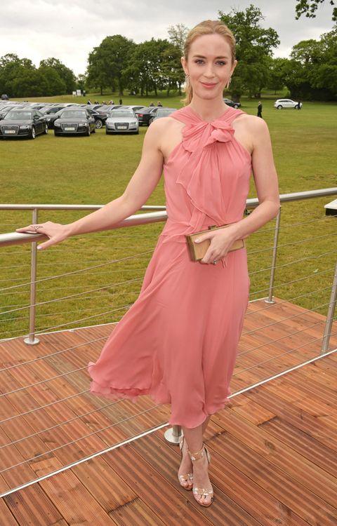 Dress, Floor, Pink, Formal wear, One-piece garment, Day dress, Cocktail dress, Waist, Wood flooring, Necklace,