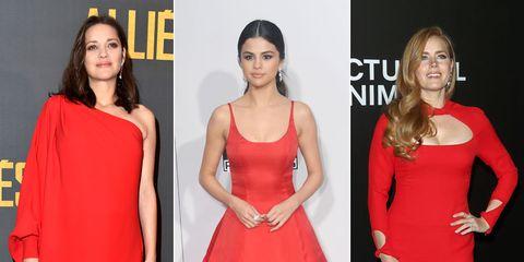 Clothing, Face, Dress, Red, Formal wear, Style, One-piece garment, Fashion, Beauty, Eyelash,