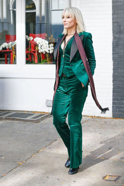 Clothing, Green, Street fashion, Fashion, Turquoise, Pantsuit, Suit, Outerwear, Electric blue, Costume,