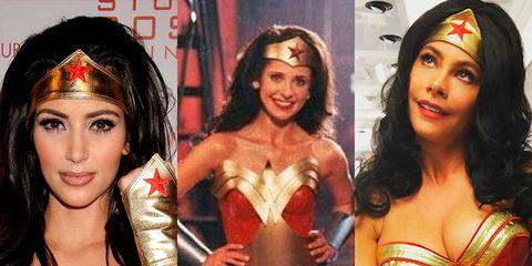 Clothing, Superhero, Wonder Woman, Fictional character, Costume, Justice league, Black hair, Abdomen,