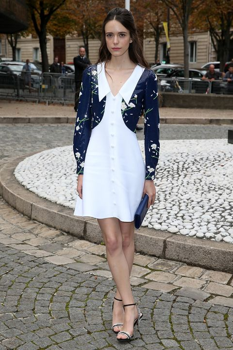 Clothing, Sleeve, Shoulder, Human leg, Outerwear, White, Dress, Style, Street fashion, Sandal,
