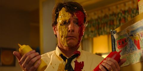 Yellow, Hand, Acting, Bow tie, Fictional character, Nail, Costume, Zombie, Thumb, Throat,