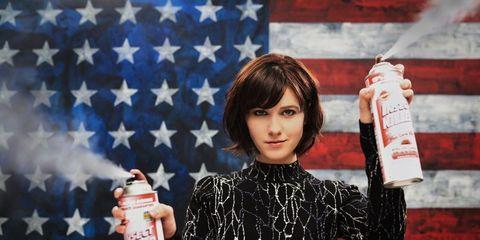Bottle, Plastic bottle, Brown hair, Flag, Flag of the united states, Makeover, Carbonated soft drinks,