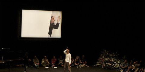 Stage, Public speaking, Audience, Presentation, Public event, Theatre, Auditorium, Projection screen, Performance art, Orator,