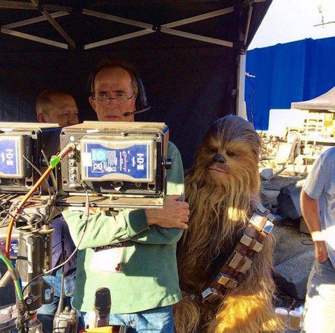 Human, Chewbacca, Fictional character, Facial hair, Display device, Electronics, Long hair, Cable, Beard, Video camera,