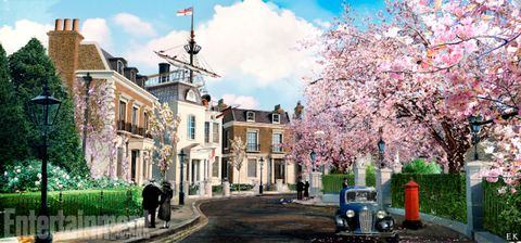 Neighbourhood, Town, Residential area, Spring, Blossom, Flower, Cherry blossom, Human settlement, Tree, Plant,
