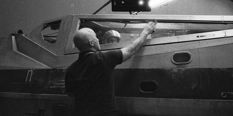 Monochrome, Windshield, Automotive window part, Monochrome photography, Employment, Aerospace engineering, Aviation, Military person, Driving, Camera,