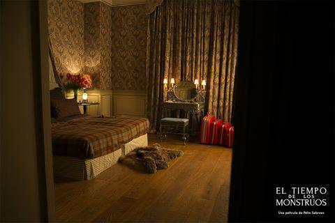 Lighting, Bed, Interior design, Room, Property, Textile, Floor, Flooring, Bedroom, Amber,