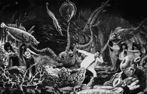 Art, Mythology, Fictional character, Monochrome, Extinction, Visual arts, Mythical creature, Illustration, Cg artwork, Painting,