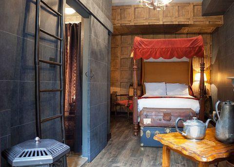 Lighting, Bed, Wood, Interior design, Room, Ceiling, Canopy bed, Bed frame, Floor, Bedroom,