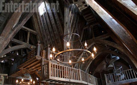 Ceiling, Beam, Iron, Light fixture, Hardwood, Metal, Building material, Symmetry, Wood stain, Steel,