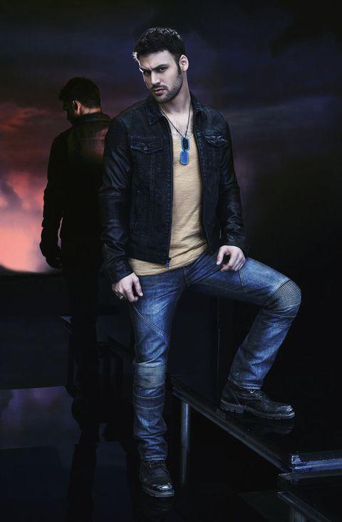 Leg, Jacket, Denim, Trousers, Jeans, Textile, Shirt, Outerwear, Standing, Style,