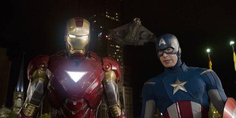 Fictional character, Iron man, Armour, Carmine, Costume, Breastplate, Hero, Trunk, Superhero, Avengers,