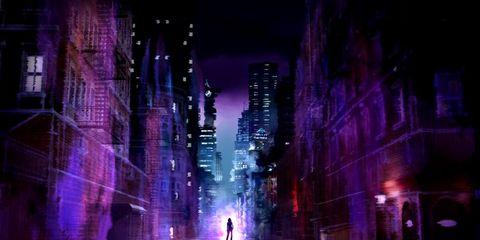 Infrastructure, Purple, Magenta, Darkness, Metropolis, City, Violet, Urban area, Night, Metropolitan area,