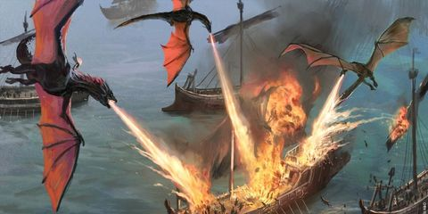 Flame, Fire, Art, Heat, Cg artwork, Painting, Wing, Video game software, Mythology, Dragon,