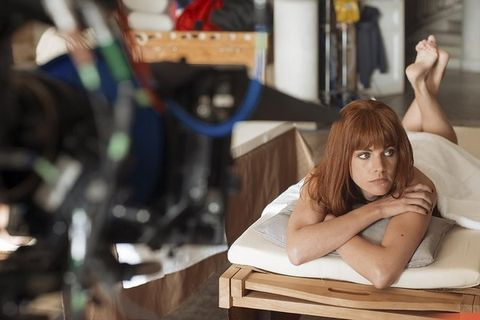 Comfort, Sitting, Eyelash, Long hair, Brown hair, Model, Foot, Layered hair, Art model, Red hair,
