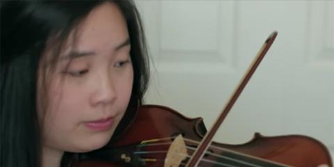 Head, Violin family, Nose, Bowed string instrument, Lip, Finger, Musical instrument, Brown, Hairstyle, Skin,