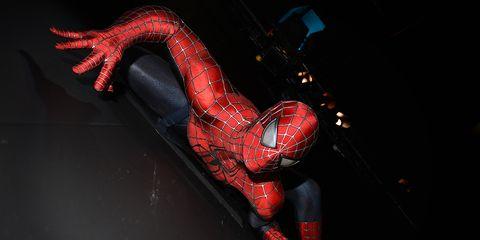 Red, Spider-man, Carmine, Darkness, Fictional character, Superhero, Latex clothing, Flesh,