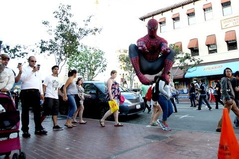 Street, Carmine, Pedestrian, Cone, Street performance, City car, Toy, Nonbuilding structure,