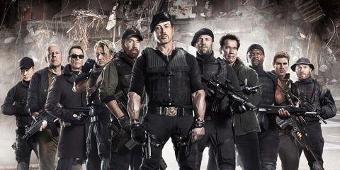 Gun, Firearm, Team, Air gun, Machine gun, Ballistic vest, Crew, Shotgun, Squad, Military uniform,