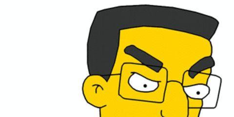 Cheek, Yellow, Hairstyle, Chin, Forehead, Eyebrow, Style, Jaw, Organ, Cartoon,