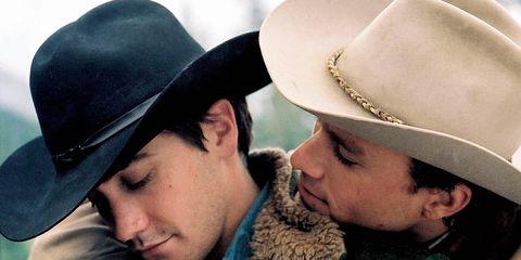 Hat, Cowboy hat, Fashion accessory, Headgear, Interaction, Kiss, Love, Fedora, Sun hat, Smile,