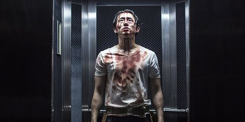 Human, Fiction, Room, Muscle, Fictional character, Flesh, Window, T-shirt, Zombie,
