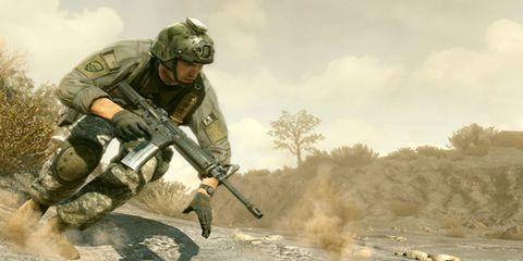 Soldier, Military person, Helmet, Shooter game, Personal protective equipment, Ballistic vest, Army, Air gun, Military organization, Machine gun,