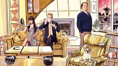 Room, Interior design, Living room, Couch, Interior design, Conversation, Canidae, studio couch, Companion dog, Illustration,