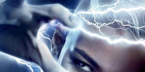 Nose, Lip, Eyebrow, Electric blue, Organ, Eyelash, Portrait photography, Lightning, Storm, Graphic design,