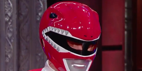 Red, Fictional character, Tooth, Carmine, Costume, Cosplay, Masque, Suit actor,