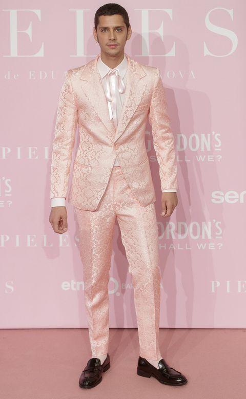 Suit, Clothing, Formal wear, Fashion, Pink, Tuxedo, Fashion model, Fashion show, Fashion design, Pantsuit,