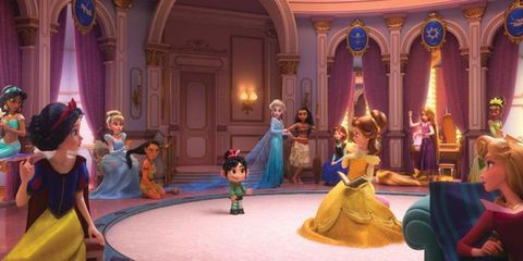 Purple, Performing arts, Stage, Animation, Fashion, Hall, Cartoon, Violet, Gown, Costume design,