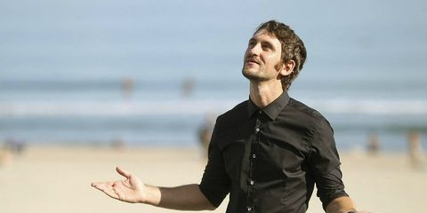 Finger, Dress shirt, Sleeve, Collar, Shirt, Hand, Standing, People in nature, Elbow, Thumb,