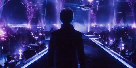 Violet, Purple, Light, Darkness, Electric blue, Fictional character, Lightning, Performance, Stage, Space,