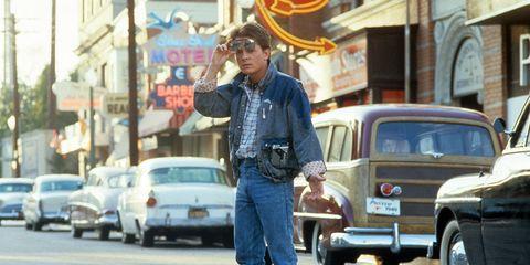 Vehicle, Land vehicle, Jeans, Shirt, Car, Denim, Street, Classic car, Street fashion, Classic,
